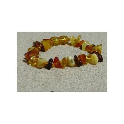 Bracelet en ambre enfant perles pépites multicolore